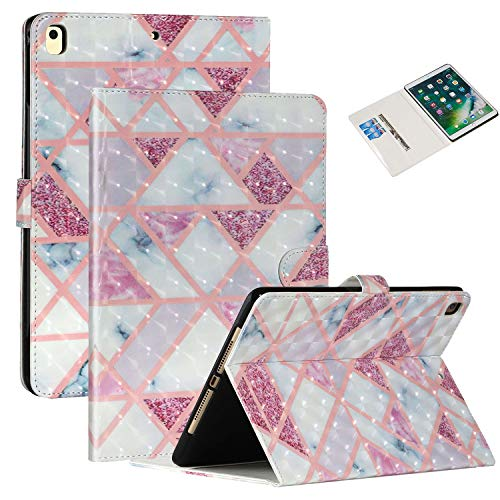 Coopts iPad 6th/5th Gen 2018/2017 Case for iPad Air 2/Air 1 Cover,PU Leather Smart Auto Sleep Wake Flip Kickstand Cash Pocket Case for iPad 9.7' 2018/2017 5th/6th Gen/iPad Air 2/Air 1,Pink Grid Marble