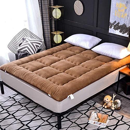 dongyu Colchón de terciopelo de cordero con esquina elástica con colchón Tatami, colchón plegable para dormitorio de estudiantes, adecuado para camas de 1,5 m y 1,8 m (tamaño 90 x 200 cm, color: C)