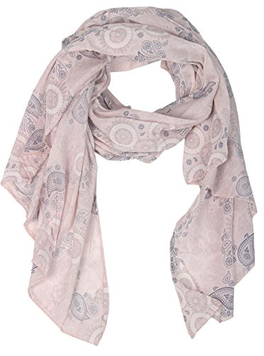 Zwillingsherz Seiden-Tuch für Damen Mädchen Paisley Elegantes Accessoire/Baumwolle/Seiden-Schal/Halstuch/Schulter-Tuch oder Umschlagstuch einsetzbar - rosa