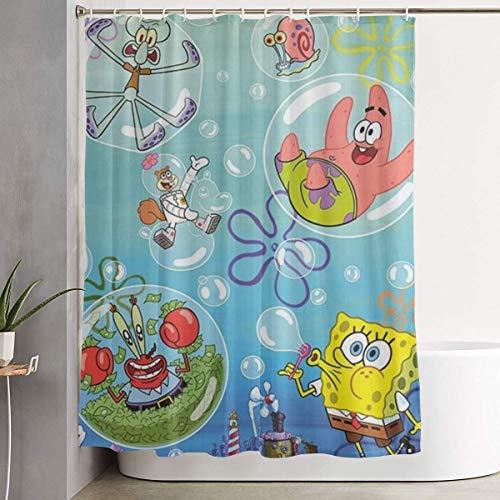 NHUXAYH Duschvorhang Spongebob Schwammkopf Kunstdruck, Polyester Stoff Badezimmer Dekorationen Sammlung mit Haken 60 X 72 Zoll