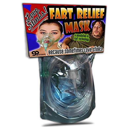 Gears Out Love Stinks Fart Relief Mask – Fart Gifts– Funny Gifts for Women – Funny Bridal Shower Gifts – Oxygen Mask Gag – Gifts for Wives – Dutch Oven Mask