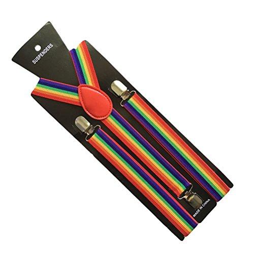 LUOEM Regenbogen Hosenträger Y-Form mit 3 Clips für Kinder 65CM