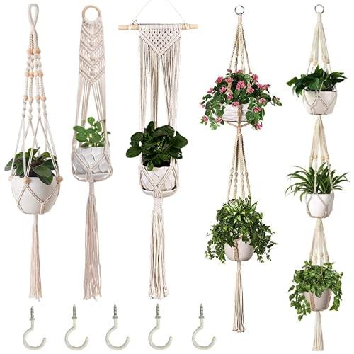 Alluroman 5er Set Makramee Blumenampel Blumentopf Hängend, Boho Deko Innen Hängeampel Pflanzen Halter Hängepflanze Wanddeko