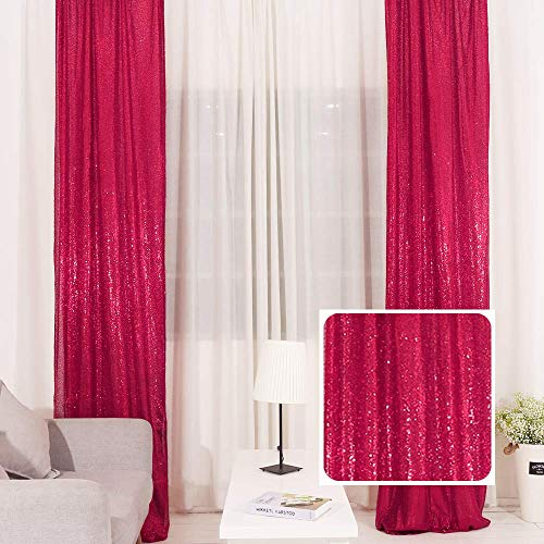 TRLYC 2FTX8FT Christmas Fushia Sequin Curtain Panel for Father'Day Wedding Party