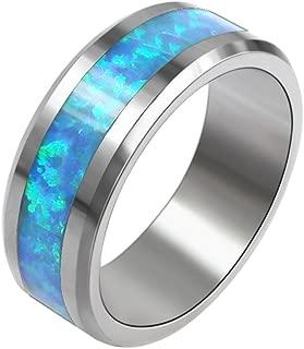 Tungsten Steel Ring Wedding Band For Men Australian Fire Opal Size 7 8 (tungsten, 7)