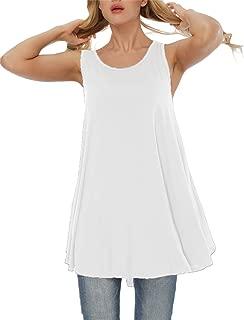 Women's Plus Size Solid Sleeveless Tunic Round Neck Flowy Tank Tops Blouse Shirts