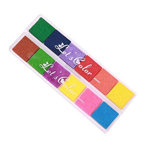 Coussins encreurs,Lomofila Tampon Encreur Encre Empreinte Digitale Pour usage avec Caoutchouc Timbres sur Papier, bon cadeau pour les enfants (12 Couleurs)