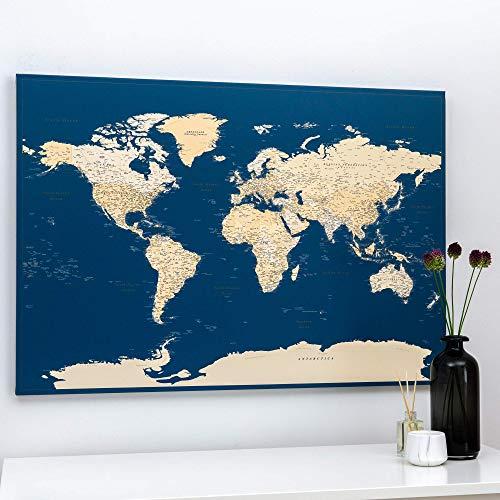 Weltkarte Wand - Leinwand Weltkarte Pinnwand mit Pins - Meerblau - Kork Zum Markieren - Kunstdruck auf Echtholz Keilrahmen - 3 Größen zur Auswahl