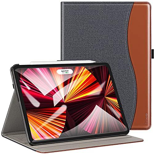 ZtotopCases Funda para iPad Pro 11 2021(3da generación) [Compatible con la Carga de Pencil],Carcasa de Cuero con Bolsillo y Soporte,Función de Auto-Sueño/Estela,Múltiples ángulos, Denim Negro
