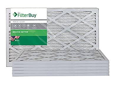 FilterBuy 10x20x1 MERV 8 Pleated AC Furnace Air Filter, (Pack of 6 Filters), 10x20x1 – Silver