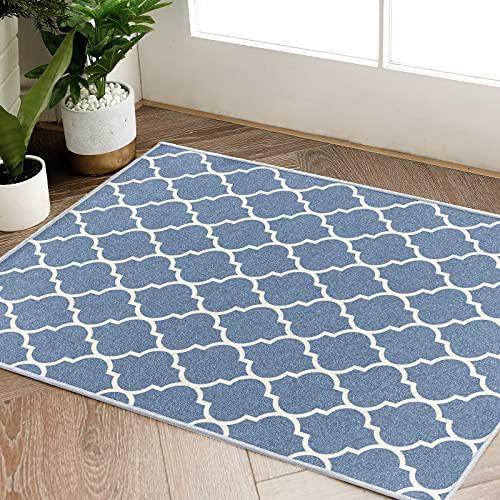 """jinchan Door Mat Blue Area Rug Moroccan Tile Low Pile Trellis Floorcover Indoor for Bedroom Carpet 2'x 3'3"""""""