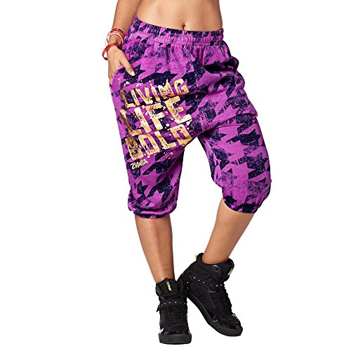 Zumba Capri Pantalon Harem de Entrenamiento Fitness Mallas de Deporte de Mujer, Purple Power, L