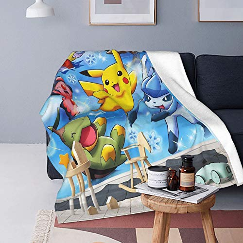 Lasse Ultra-Soft Micro Fleece Blanket Pokemon Baby Rocking Blanket for Adults and Children Super Soft Micro-Fleece Fluffy Warm Blanket Anti-Flannel Cloth
