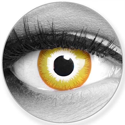 Funnylens Farbige Kontaktlinsen Sunburst gelb weiß - weich ohne Stärke 2er Pack + gratis Behälter – 12 Monatslinsen - perfekt zu Halloween Karneval Fasching oder Fasnacht