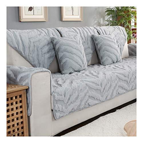 ZSFBIAO L Forma Seccional Protector para Sofás Sofá, Funda Sofa Chaise Longue, para Sofa Chaise Longue Antimanchas Ajustable,Vender por Pieza,Gris-Gris (110 * 180cm) x2
