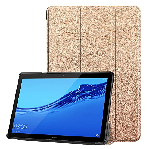 AHUOZ Funda para tablet Huawei Mediapad T5 de 10 pulgadas, ligera, triple soporte, funda rígida para PC, protector de cuerpo completo, resistente a golpes, color oro rosa