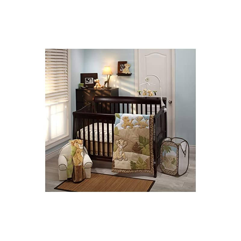 crib bedding and baby bedding disney lion king urban jungle 4 piece nursery crib bedding set, tan/aqua & green/tan/aqua/green/ivory