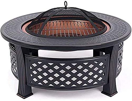 Amplio 3 en 1 FUEGO DE FUEGO CON PIEZA DE PEQUEÑA BBQ, Aleación de aleación al aire libre Mesa cuadrada de jardín Calentador de patio / Parrilla / Pozo de hielo con cubierta impermeable, Calefacción e