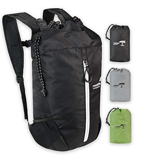 rootful.® Companion Faltbarer Premium Rucksack 25L (neues Modell 2020) - Ultraleichter Rucksack für Outdoor, Reisen, Camping und Wandern - Tagesrucksack/Daypack (Schwarz)