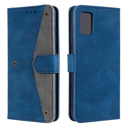 EYZUTAK Funda de piel para Samsung Galaxy A52 4G 5G, cierre magnético, piel sintética suave, interior de TPU, funda con 3 ranuras para tarjetas, función atril, diseño retro, color azul