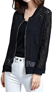 [エアバイ] 長袖 レース ブルゾン ジャケット 薄手 ジップアップ カーディガン レディース M~2XL