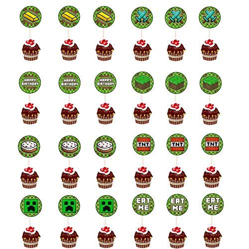 MIANRUII 24 Stück 8 Stile Pixel Miner Crafting Cake Toppers für Spiele Thema Party, Baby-Dusche und Alles Gute Zum Geburtstag Cupcake Decor
