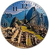 マチュピチュペルー壁時計サイレントラウンド家の装飾壁時計ラウンドホームオフィス時計のために読みやすい、10インチ