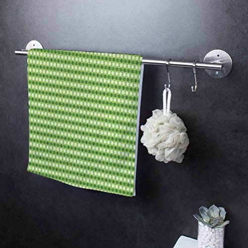 27' W x 54' L Abstract Ultra Absorbent Cleaning Cloth Dish Drying Towels Absorbent Tea Towels Retro Style Little Circles with Stripes on Dotted Background Lime Green Fern Green Cream