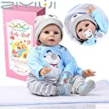ZIYIUI 55 cm Lebensechte Reborn Babypuppen Wiedergeboren Baby Puppe Junge Weiche Vinyl Silikon...