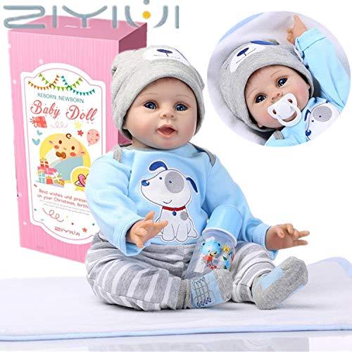 ZIYIUI 55 cm Lebensechte Reborn Babypuppen Wiedergeboren Baby Puppe Junge Weiche Vinyl Silikon Spielzeug Kinder Geburtstag Geschenke