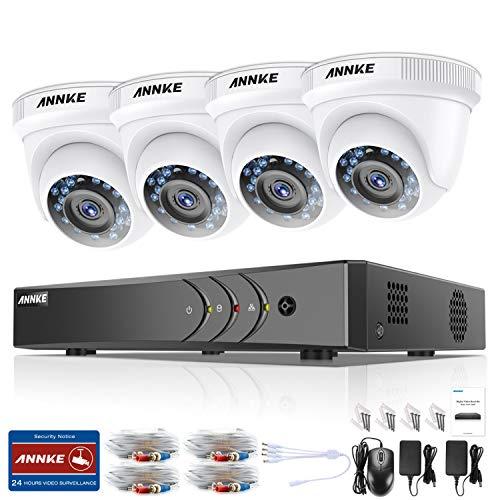 ANNKE Kit Sistema de Seguridad CCTV Cámara de vigilancia Luz Estelar 4CH 3MP H.265+ DVR con 4 Cámaras 1080P IP66 Impermeable Visión Nocturna No-Ruido Alerta por Correo electrónico con instantáneas