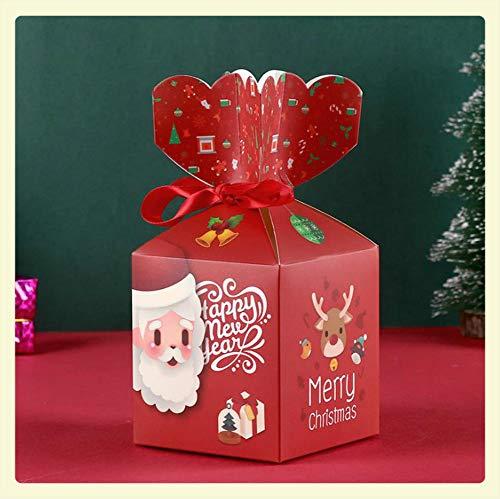 MANRS - Caja de papel para manzanas de Navidad, 30 unidades, diseño de dibujos animados, caja de regalo de manzana (rojo)