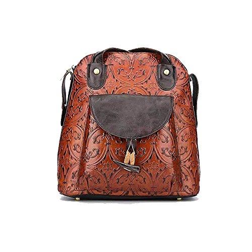 Damen Retro Leder Vintage Rucksack Tasche 2 in 1 Lederrucksack Ledertasche Lederrucksack Damen...
