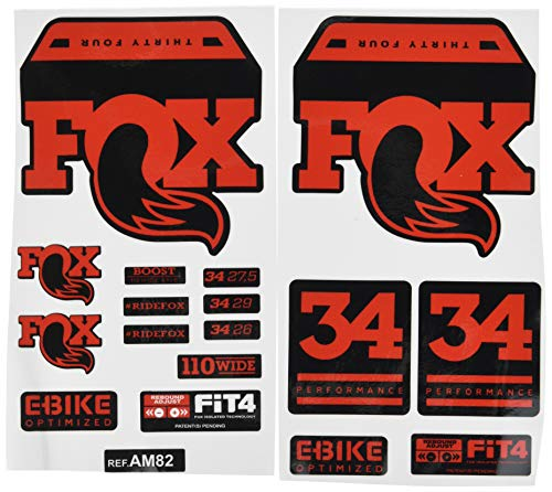 Ecoshirt FK-0RE8-Q5FT Aufkleber Fork Fox 34 Performance Elite 2017 Am82 Aufkleber Decals Sticker Gabel Gabel Rot