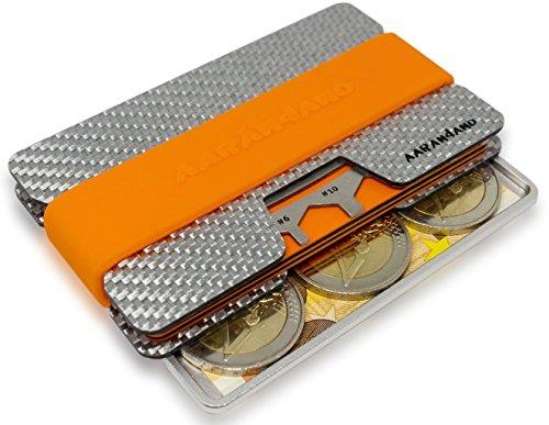 AARÁNDANO ™ FIBERGLAS slim-wallet mit CoinCard - Kreditkartenetui mit Münzfach und Geldklammer - RFID/NFC - Schutz Etui - 4 Bänder und MultiTool inklusive