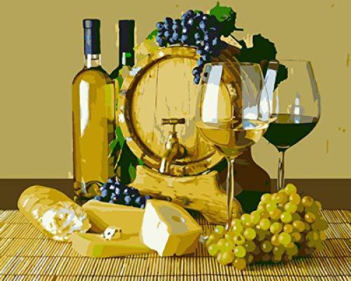 Pintura de bricolaje por número Copa de vino y uvas Conjunto completo de bricolaje de de pintura familiar de caja de herramientas (40 * 50 cm/sin marco)