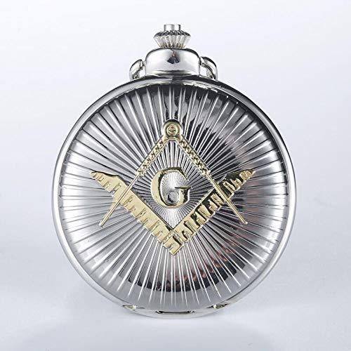 Akopiuto Engraved Silver Free-Mason Theme Pocket Watch Golden Freemasonry Masonic Quartz Fob Watches for Men Clock Gifts Gold