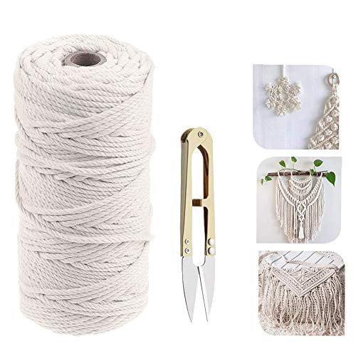 koitoy Hilo de macramé de algodón, 3 mm, 210 m, 100 % suave, para manualidades, manualidades, pared, colgador de plantas, fabricación de joyas, cordón de algodón (3 mm, 200 m)