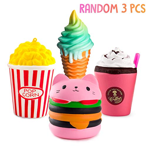 WATINC Kawaii Jumbo 3pcs Hamburger&Popcorn Set Squishy Sweet Scented Vent Charms Kid Toy Hand Toy Stress Relief Toy  Decorative Props Doll Gift Fun Large (Pink ham&pop Corn)