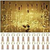 Lot de 10 guirlandes lumineuses à 20 LED - 2 m - Blanc chaud - En liège - Pour bouteille de vin - Avec fil de cuivre - À piles - Pour Noël, Halloween, mariage, fête, intérieur et extérieur