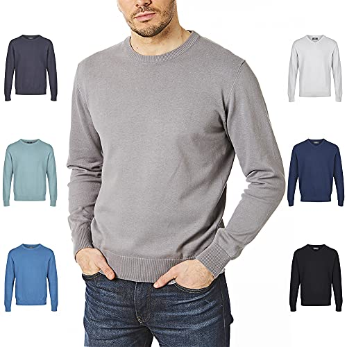 Castle Point Jersey de punto para hombre CSPKNT003, 100% algodón, suave al tacto, cuello redondo, color gris, mediano