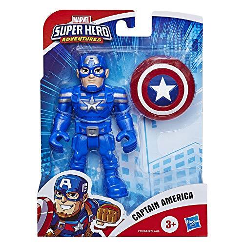 Hasbro Playskool - Captain America con Accessorio Scudo (Marvel Super Hero Adventures, Action Figure 12.5 cm)