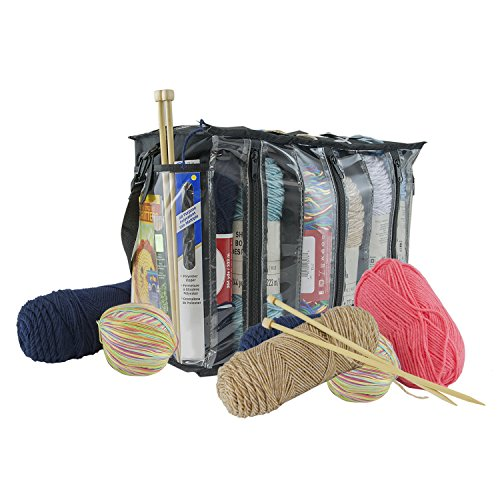 Houseables Stricktasche, Häkeltasche, Garntasche, 1 Stück, transparent, 6 Fächer, Häkelzubehör, Strickzubehör, Kordelzug, Nadelhalter, Fadenspender, Aufbewahrungsbox, mit Reißverschlüssen