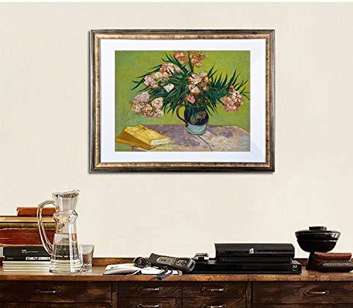 Su tela, Immagini completamente parete arte stampa Vaso Con Oleandri E Libri, C.1888 Da: Vincent Van Gogh Impressionista Dipinti 24X30inch Stampa Solo HD Poster Stampa Tela Stampa Immagini