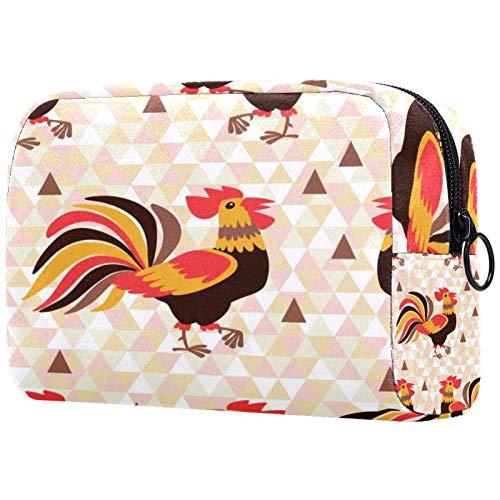 Bolsa de cosméticos Bolsa de Maquillaje Impermeable para Mujer para Viajar, Llevar cosméticos, Cambiar Llaves, etc. Patrón sin Costuras con gallos Original