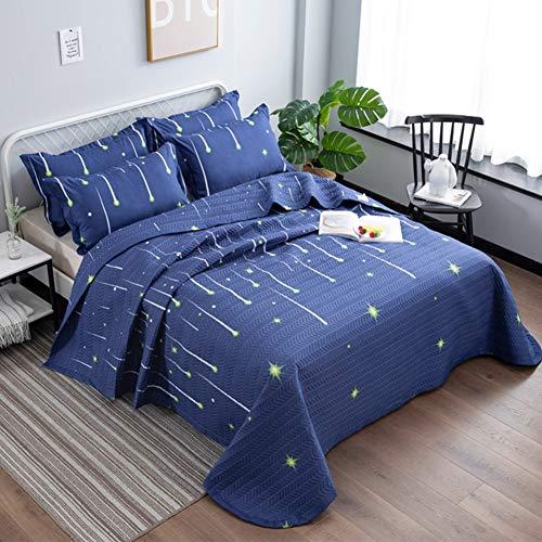 Qucover Blaue Tagesdecke Bettüberwurf 220x240cm, Gesteppte Decke für Sommer aus Polyester, Set mit Kissen, Sofaüberwurf mit Sterne Muster Meteorschauer