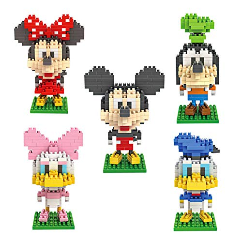 LNLJ 5 PC Fun Mini Tier Building Block Set - Micky Maus Ente 3D Kleine Ziegelstein-Gebäude Abbildung Modell, Pädagogisches Spielzeug Für Kinder, Geschenk Für Kinder