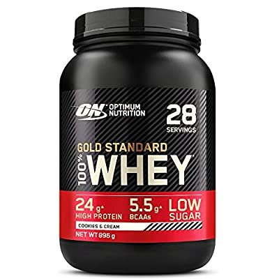 Optimum Nutrition Gold Standard Whey Protein Powder Muscle Building Supplements with Glutamine and Amino Acids, Cookies and Cream, 29 Servings, 900 g