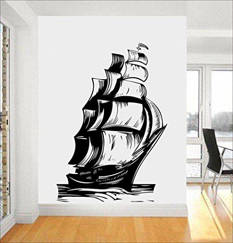 wopiaol Decoración náutica para el hogar Vintage Ship Sailboat Tatuajes de Pared Sail Ocean Marine Sea Waves Vinyl Sticker Living Room Interior Mural