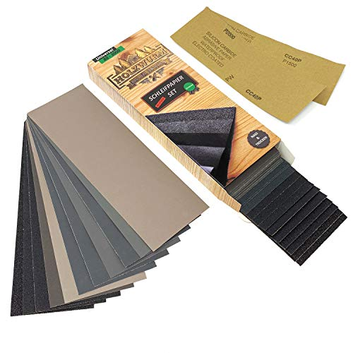 HOLZWURM Premium Schleifpapier-Set, 45 Bögen, grob - fein [ P 80 - P 3000 ] Nass & Trocken für Holz, Metall, Lack uvm.…